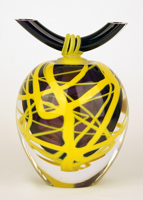 tsubo glazen urn geel